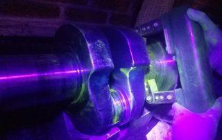 Cigüeñal en prueba de partículas magnéticas